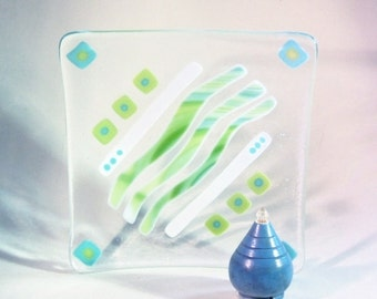 Turquoise BLue  // Bright Green // White // Fused GLass Art Dish // Candy // Abstract // Summer // Home Decor // Square // Fun // Colorful