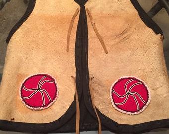 Beaded braintan buckskin vest Native American Made beadwork