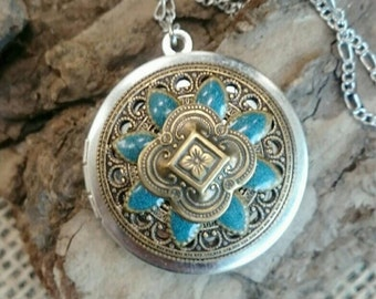 Vintage Ornate Locket - Round Turquoise & Gold Color Embellished Pendant on Antique Silver Chain