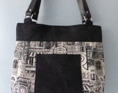Black and White London Print and Black Suede Handbag