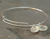 Personalized Handprint Bangle - Footprint Bangle - Handprint Bracelet - Baby Footprint Bracelet - Handprint Adjustable Bangle - Charm Bangle