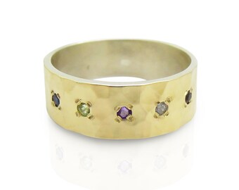 Gemstone ring with hammered gold & silver ring