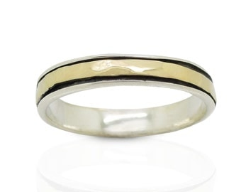 Wedding ring, silver band & Gold spinner