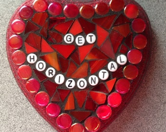 Stained Glass Mosaic Valentine Conversation Heart - Get Horizontal
