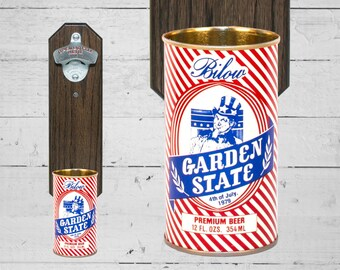 Garden State Wall Mounted Bottle Opener with Vintage Bilow New Jersey Beer Can Cap Catcher - 4th of July Gift for Groomsmen