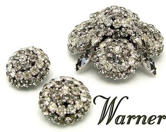 Vintage WARNER Rhinestone Brooch Earrings Set High Dome Demi Parure