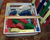 Nine Hand Crafted Brightly Painted Vintage Wooden Folk Art Toy Animals in matching Crate