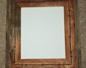 Barnwood Picture Frame - 8 x 10 - Fencewood with or w/o Barbed Wire - Recycled