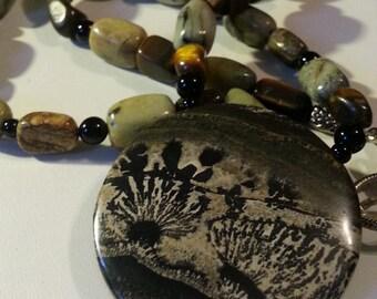 Big Bold Statement necklace Natural stone  Picture Jasper Pendant Earth Tones Amazing