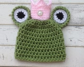Frog Theme Baby Shower Gift, Newborn Frog Hat With Crown, Newborn Princess Frog Hat, Baby Girl Frog Hat For Newborn Photos, Baby Frog Outfit