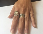 RESERVED for LORI - Silver every day ring, cameo ring, oval ring, boho ring, thin ring, simple ring - The woman R2259