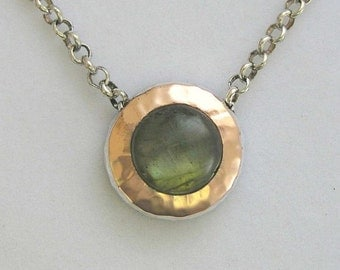 Rose gold necklace, two-tones necklace, labradorite necklace, sterling silver necklace, round gemstone pendant - Green Fields Forever N8815A