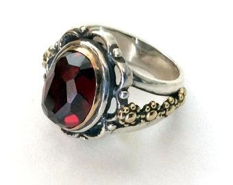 Garnet ring, gypsy Ring, Statement ring, flower ring, silver engagement ring, gold silver ring, two tone ring - Love me tonight R2173