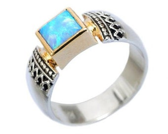 Opal ring, silver yellow gold ring, two tones ring, square ring, blue opal, October birthstone ring, filigree ring, bridal - Triumph R0184