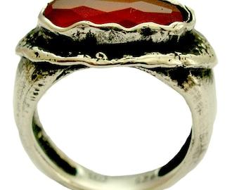 Carnelian ring, rustic ring, Sterling Silver ring, Oxidized Ring, orange gemstone ring, statement ring, cocktail ring - Sunset R1478X-1