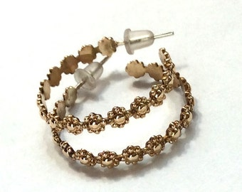 Solid gold bridal hoop earrings, 14k gold Flower earrings, floral hoops, dangle earrings, bohemian hoops, bridal earrings - Divine EG8032