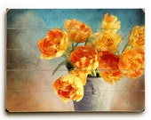 Wood Sign Art, Tulips on Wood Planks, Cottage Decor, Orange Tulips on Wood, Tulip Photography, Spring Tulips Wood Panel Art, Modern Country