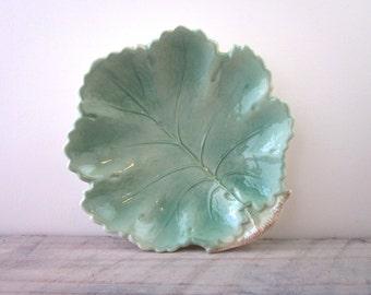 Vintage Pottery Leaf Bowl