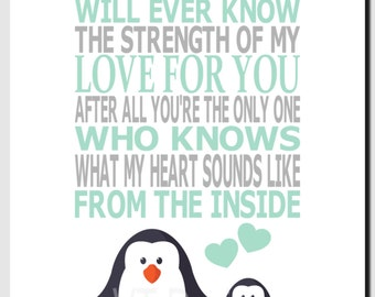 Penguin Nursery Art, Mint Gray Nursery Decor, Kids Wall Art, Baby Girl, Baby Boy, No One Else Will Ever Know the Strength of My Love, Print