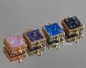 4pcs Square Bezel Gemstone Connector, Zircon Quartz Links Pendant, Druzy Gold Plated Brass Charms 10mm (GB001)