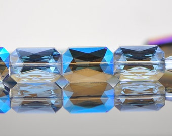 38pcs Rectangle Crystal Glass Faceted beads 20mm Sparkly Blue Purple -(TS13-3)