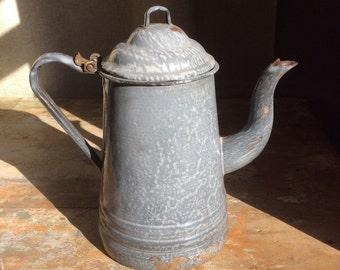 Antique grey granite ware graniteware swirl tea pot coffee