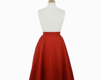 Rustic Red Full Circle Skirt