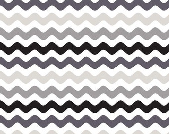 "Small WAVE ~ Black, Gray  and White ~ 100% Cotton Fabric ~ 1/2 yard ~ 18"" x 44"" ~ from Riley Blake ~ C415-41"