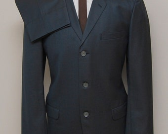 1960s men's blue sharkskin 2 piece suit/ 60s men's sharkskin 2 piece suit/ Custom