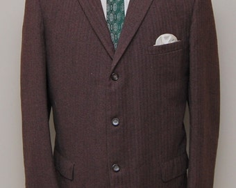 1950s men's brown herringbone wool blazer/ 50s men's brown herringbone blazer/ Robert Hall