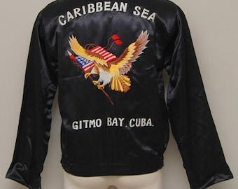 1960s men's black satin guantanamo bay tour jacket/ 60s men's tour jacket