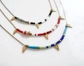 Simple Layering Necklace, Minimal Arrowhead Necklace, Dainty Beaded Necklace, Line Necklace