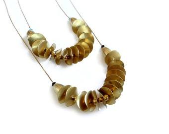 Simple Boho Necklace, Brass Circles Necklace, Disc Necklace, Everyday Necklace Long