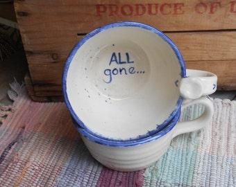 Handmade white ceramic mug - pottery cappincino mug - rustic white with blue edging - Pottery soup mug - cafe au lait mug