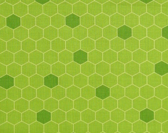Bright Green Honeycomb Print 100% Cotton Quilt Fabric Blender, Red Rooster's Quilting Bee Collection by Michelle Palmer, RER465426334GRE1
