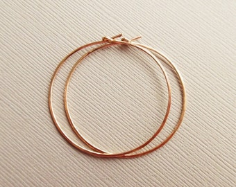 Rose Gold Hoops, Medium Rose Gold Filled Hoop Earrings, Pink Gold Filled Hoops, Hammered Hoops, 1.5 Inch 14KT Rose Gold Filled
