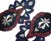 "Pair of Antique Edwardian Embroidered 5 "" Long Appliques - Vintage Art Deco Trim - Metallic Thread in Rose, Blue, Pale Grey Priced for Two"