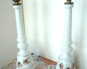 Vintage Tall White Glass Boudoir Lamps Painted Brown Roses Pair