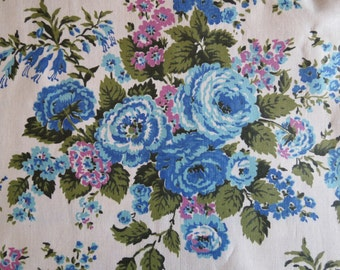 Vintage Blue Cabbage Roses Floral Cotton Print Fabric- 1.8 yards