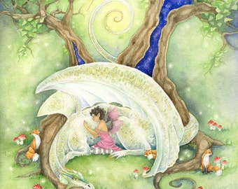 Dragon Art Watercolor Print - At Rest - fantasy. fairy. tree. fox. forest. magical. ivory. woodland. fairy tale. whimsical.