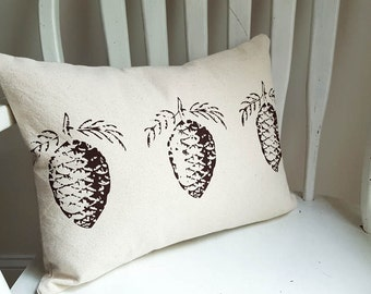 """Pinecone Holiday Decor Pillow Cover 12"""" x 16"""" Lumbar Cotton Canvas Washable Christmas Thanksgiving Winter Decorative Made in Nashville TN"""
