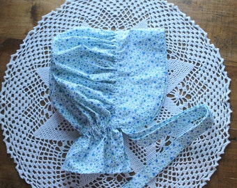 Blue and White Calico Pioneer Bonnet -Ready to Ship