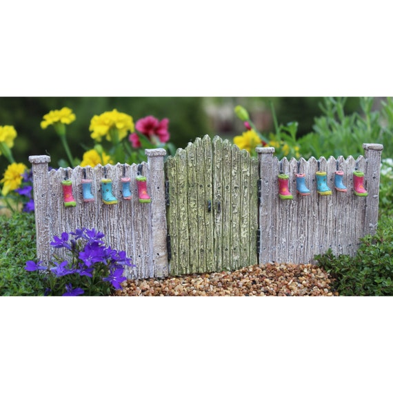 Planter Gate with Swing Gates and Metal Picks for the Fairy Garden