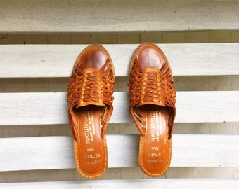 Vintage brown woven leather sandals, slip on heels, cork slides, cognac leather,  women's size 7 and a half narrow
