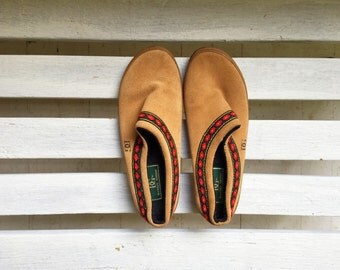 Vintage brown suede leather slip on mules, clogs, slippers, mules, house shoes, tan open back women's shoes size 7