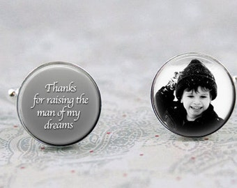 Father of the Groom Cufflinks, Custom Photo Cuff Links, Thanks for raising the man of my dreams, Gift for Dad