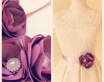 Romantic  Bridal Satin  Belt Flower Sash and Hairflowers for Wedding