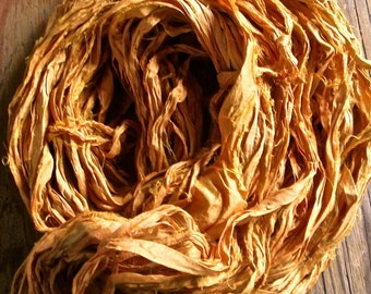 Butter Toffee Recycled Sari Silk Thin Ribbon Yarn 5, 10 or 50 - 55 Yards for Jewelry Weaving Spinning & Mixed Media
