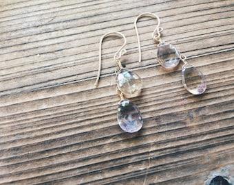 Ametrine Earrings // Amethyst and Citrine // Dangle Earrings // Crystal Jewelry // Sterling Silver // 14k Gold // Rose Gold // French Hooks