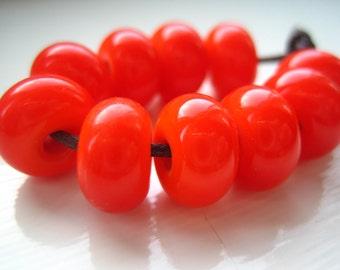 Hot Orange Lampwork Spacer Beads